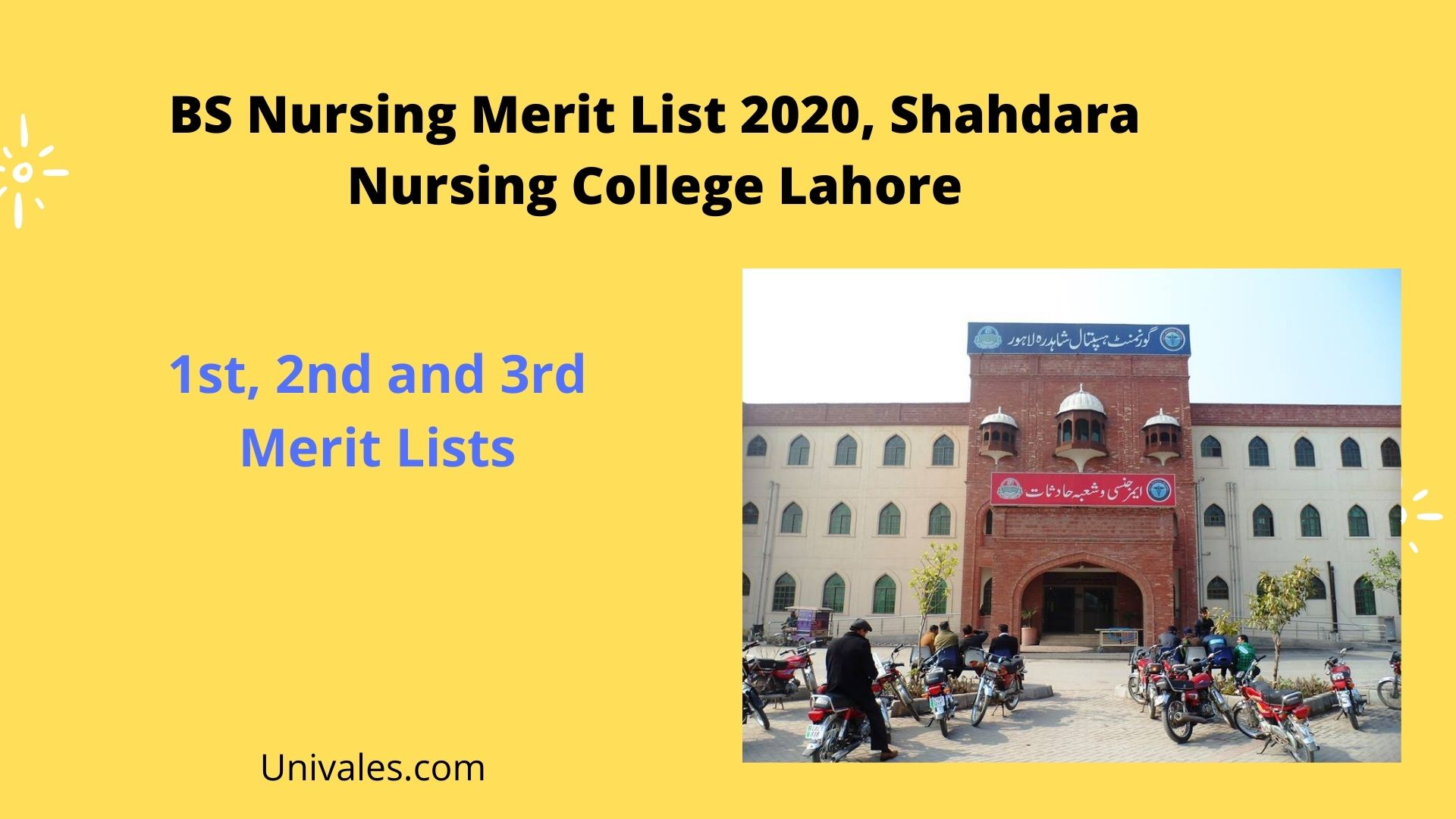 BS Nursing Merit List 2020 Shahdara Nursing College Lahore